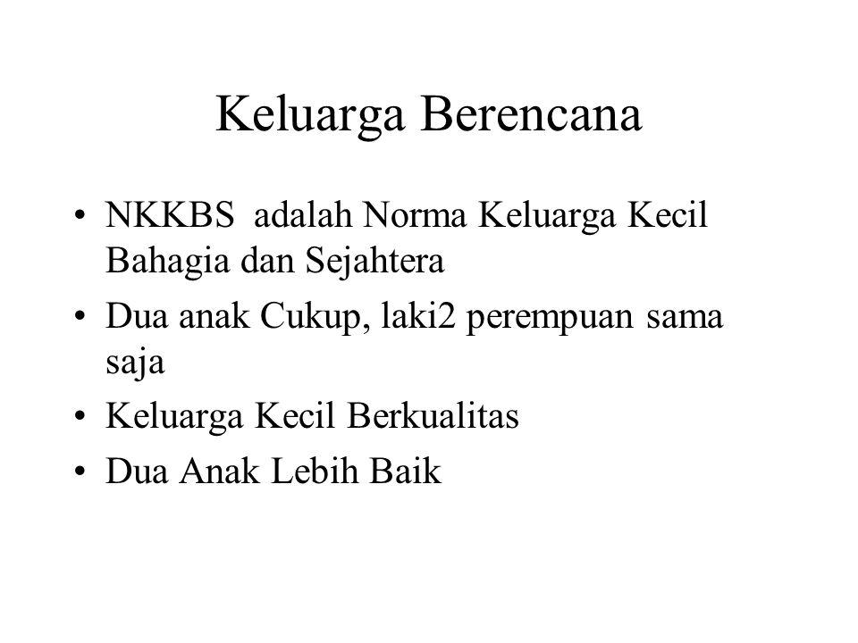 Keluarga Berencana NKKBS adalah Norma Keluarga Kecil Bahagia dan Sejahtera. Dua anak Cukup, laki2 perempuan sama saja.