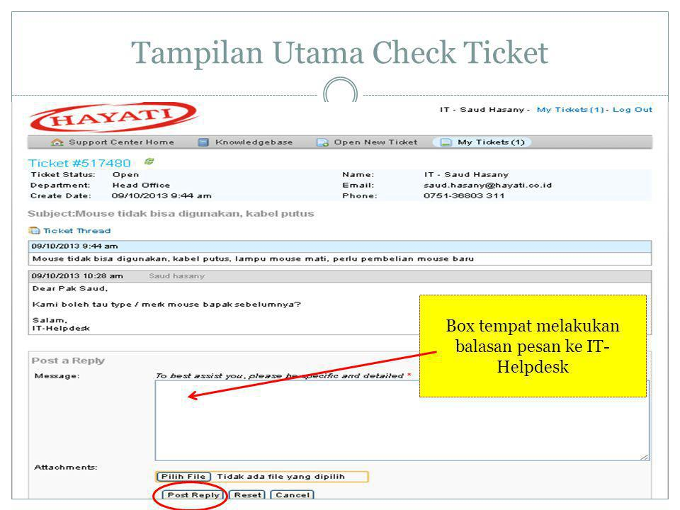 Tampilan Utama Check Ticket