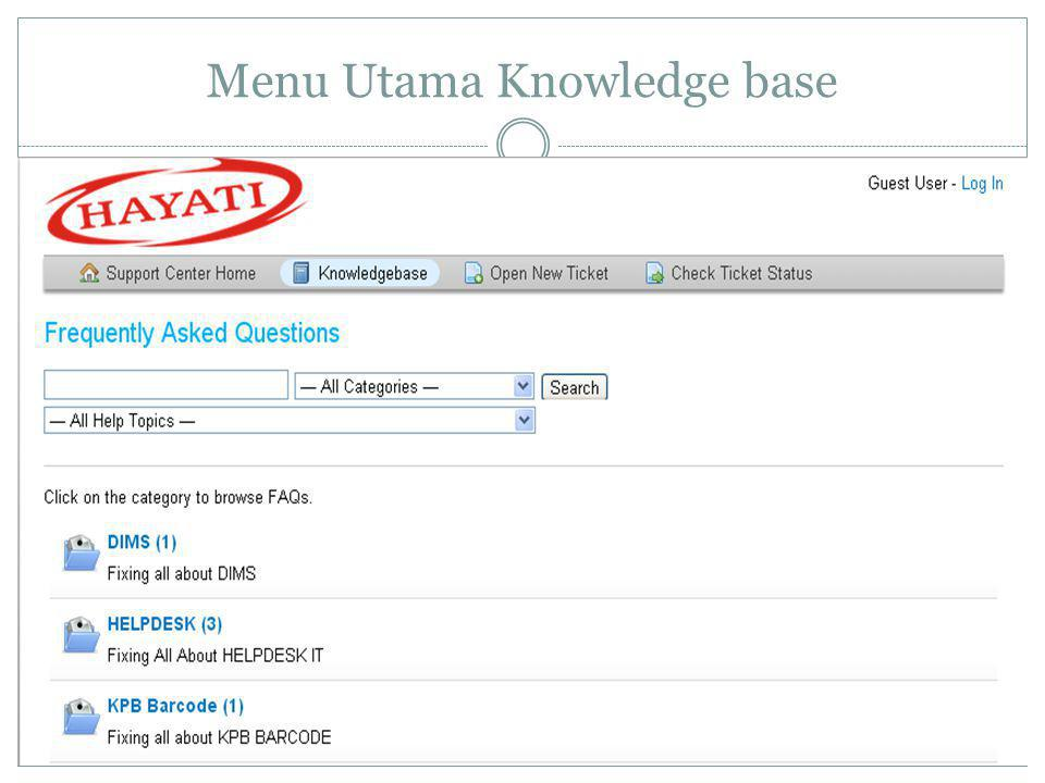 Menu Utama Knowledge base
