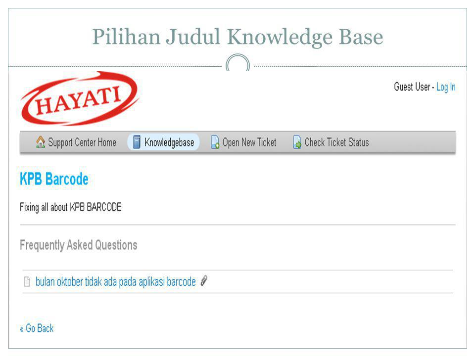 Pilihan Judul Knowledge Base