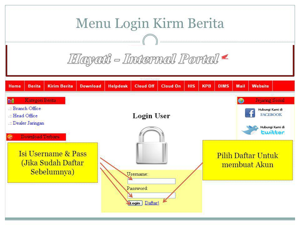 Menu Login Kirm Berita Isi Username & Pass