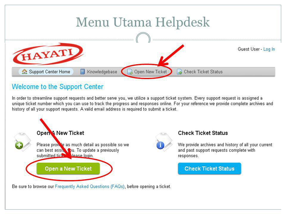 Menu Utama Helpdesk