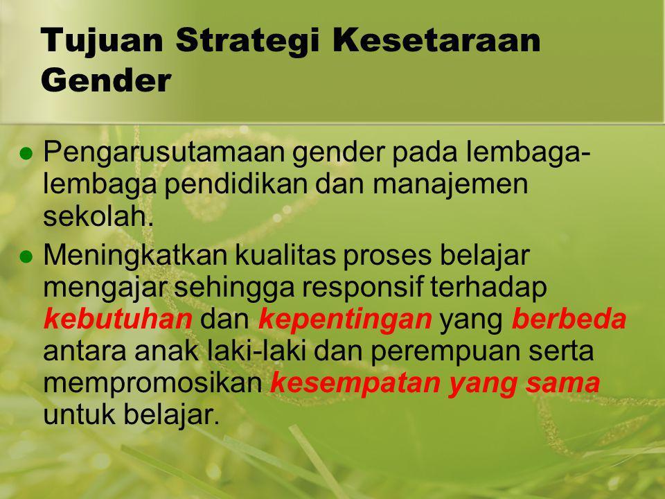 Tujuan Strategi Kesetaraan Gender