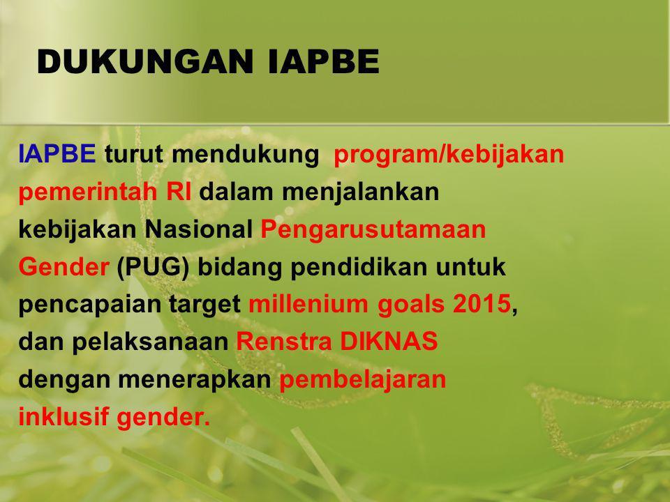 DUKUNGAN IAPBE IAPBE turut mendukung program/kebijakan