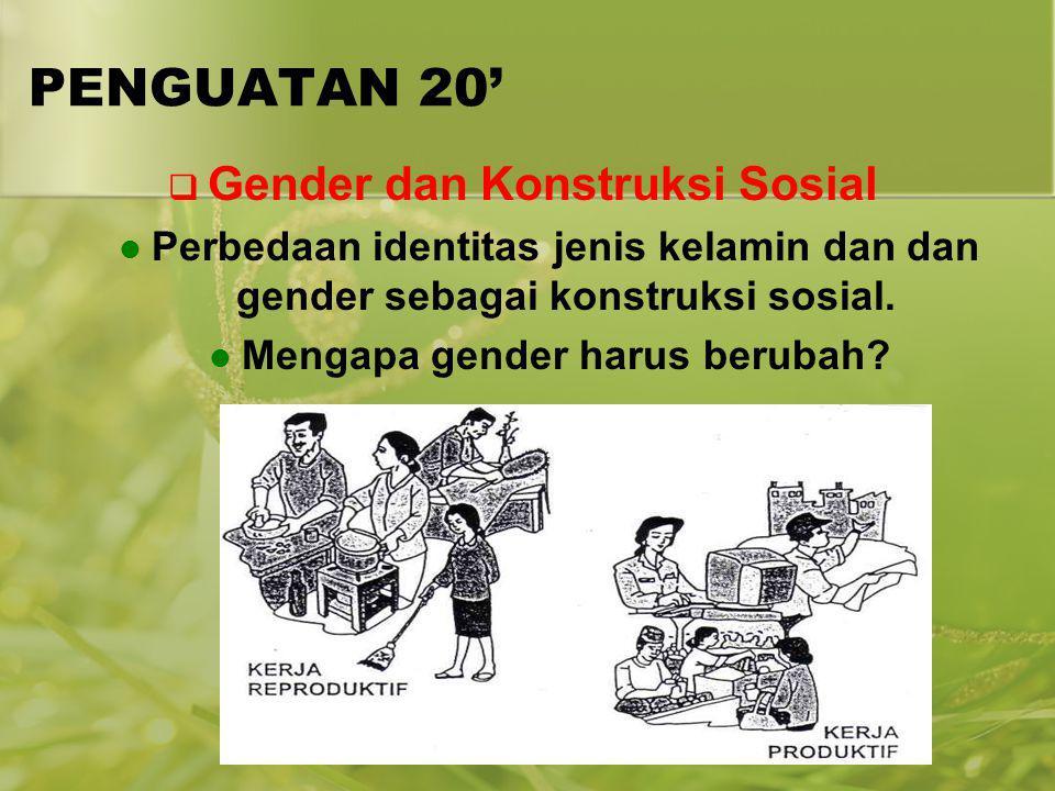 Gender dan Konstruksi Sosial Mengapa gender harus berubah