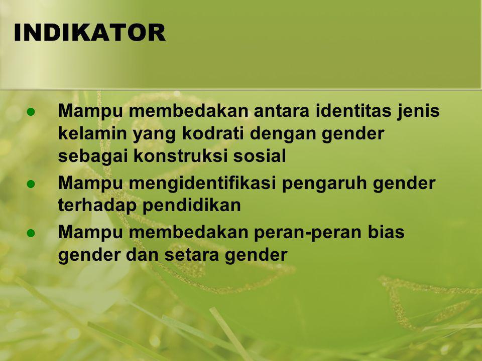 INDIKATOR Mampu membedakan antara identitas jenis kelamin yang kodrati dengan gender sebagai konstruksi sosial.