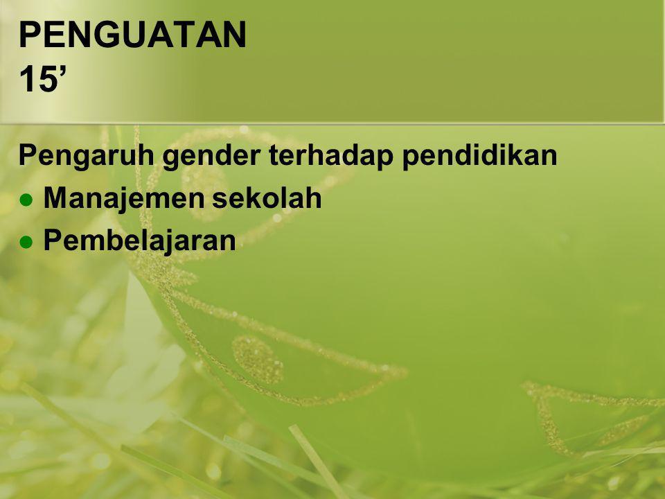 PENGUATAN 15' Pengaruh gender terhadap pendidikan Manajemen sekolah
