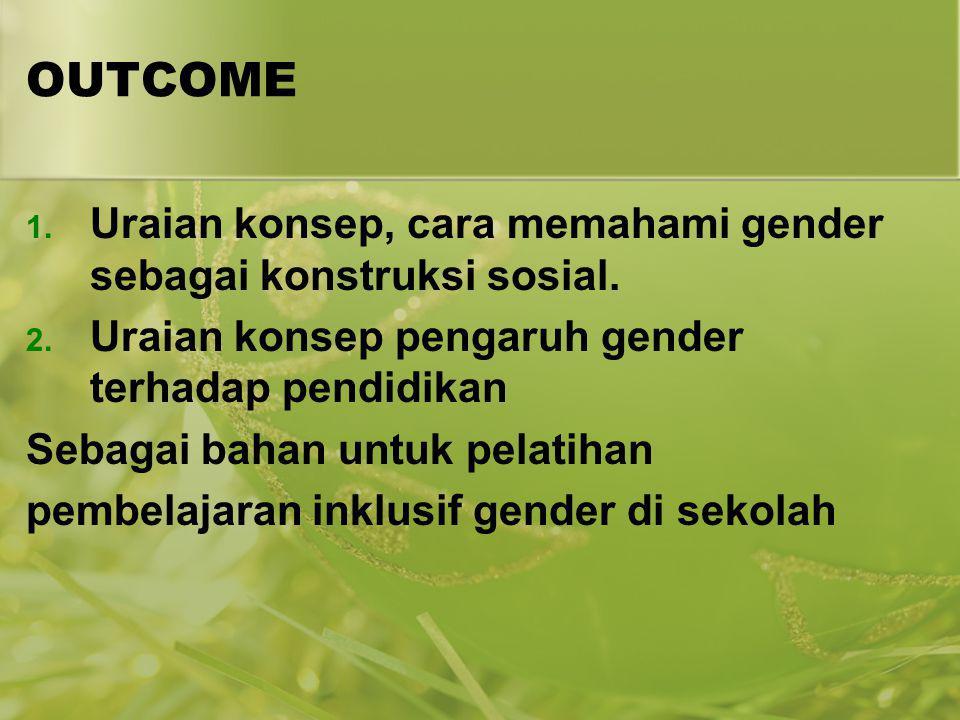 OUTCOME Uraian konsep, cara memahami gender sebagai konstruksi sosial.