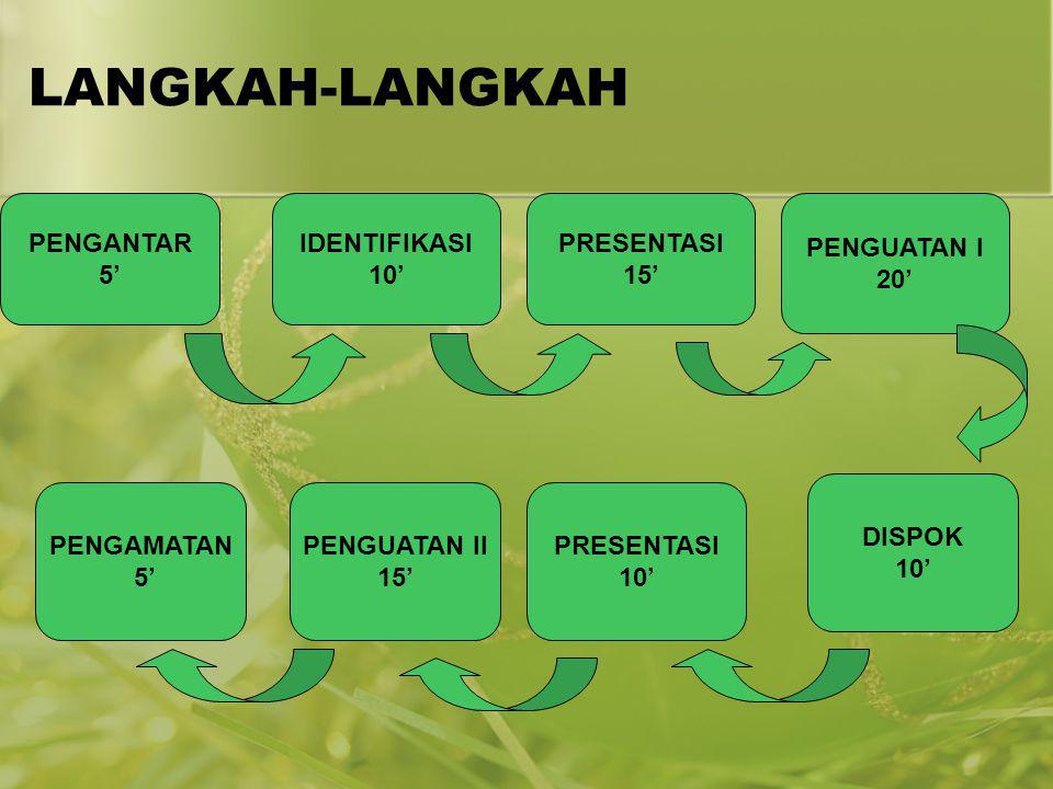 LANGKAH-LANGKAH PENGANTAR 5' IDENTIFIKASI 10' PRESENTASI 15'