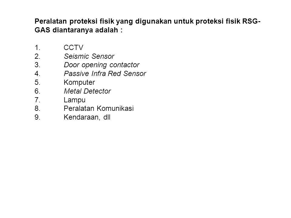 Peralatan proteksi fisik yang digunakan untuk proteksi fisik RSG-GAS diantaranya adalah :