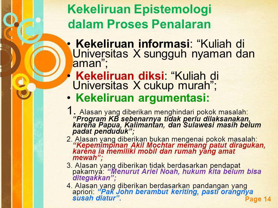 Kekeliruan Epistemologi dalam Proses Penalaran