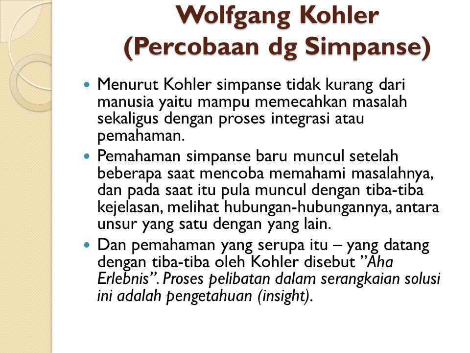 Wolfgang Kohler (Percobaan dg Simpanse)