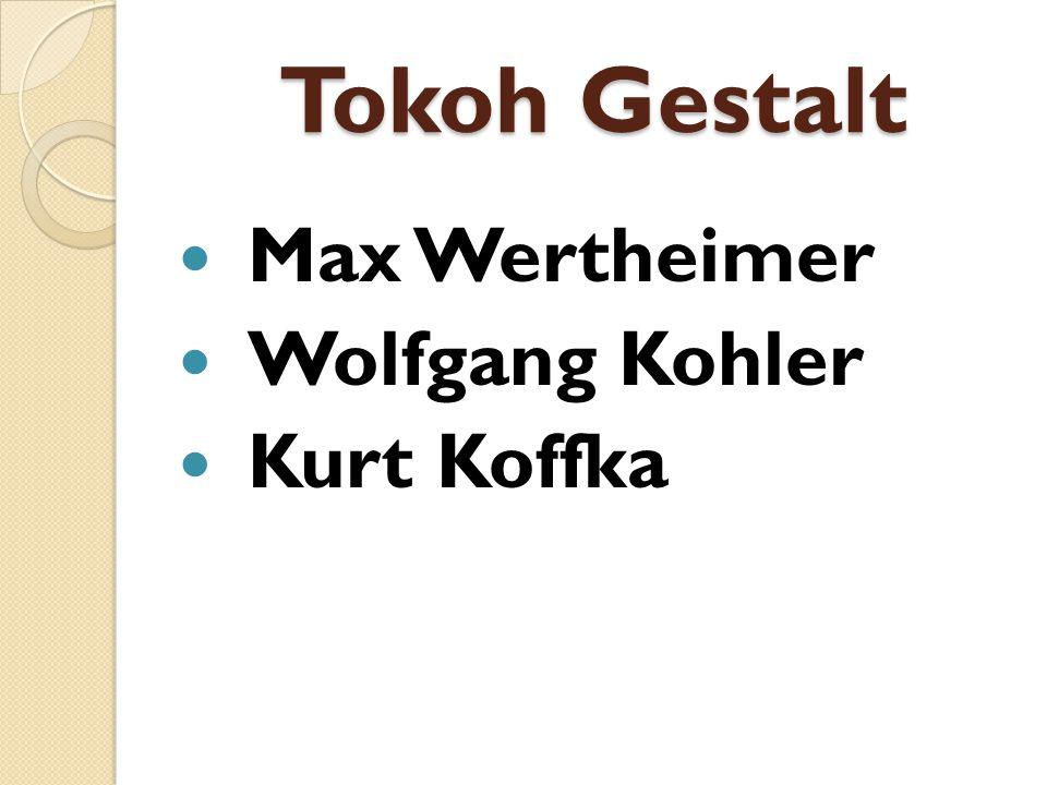 Tokoh Gestalt Max Wertheimer Wolfgang Kohler Kurt Koffka