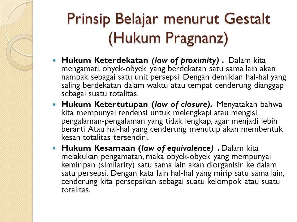 Prinsip Belajar menurut Gestalt (Hukum Pragnanz)