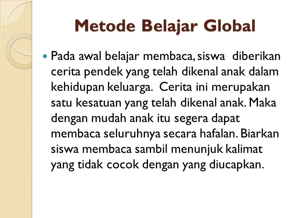 Metode Belajar Global