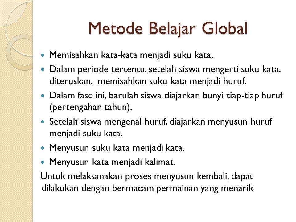 Metode Belajar Global Memisahkan kata-kata menjadi suku kata.