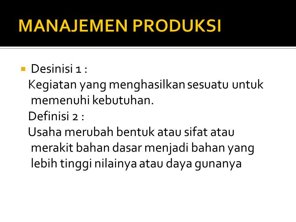 MANAJEMEN PRODUKSI Desinisi 1 :