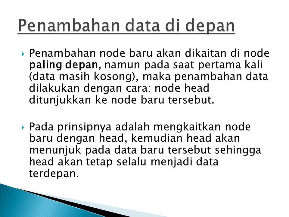 Penambahan data di depan