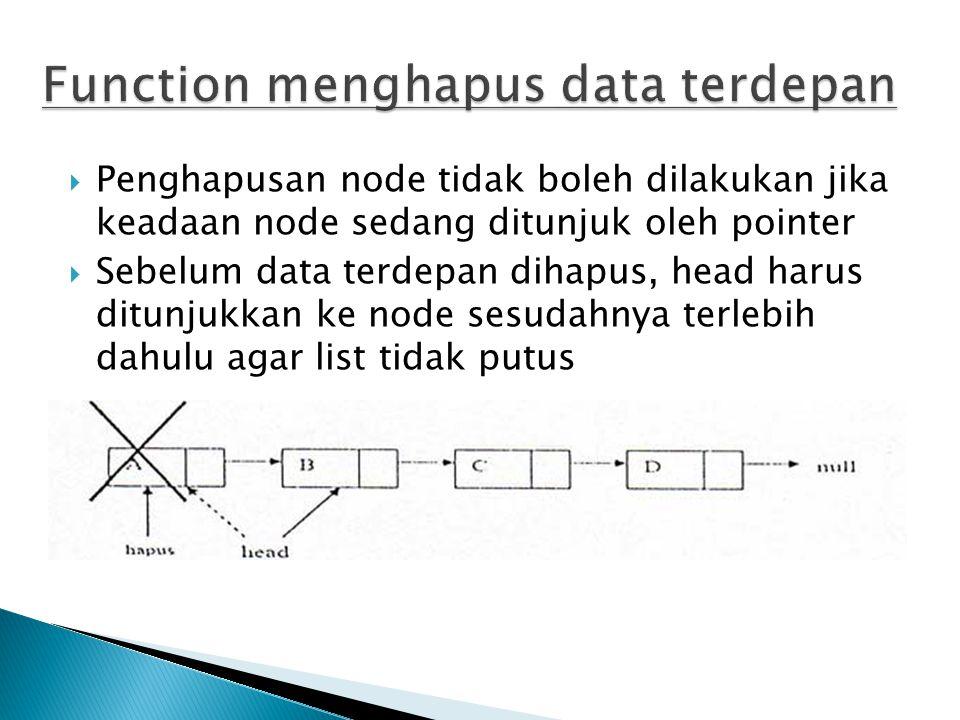 Function menghapus data terdepan