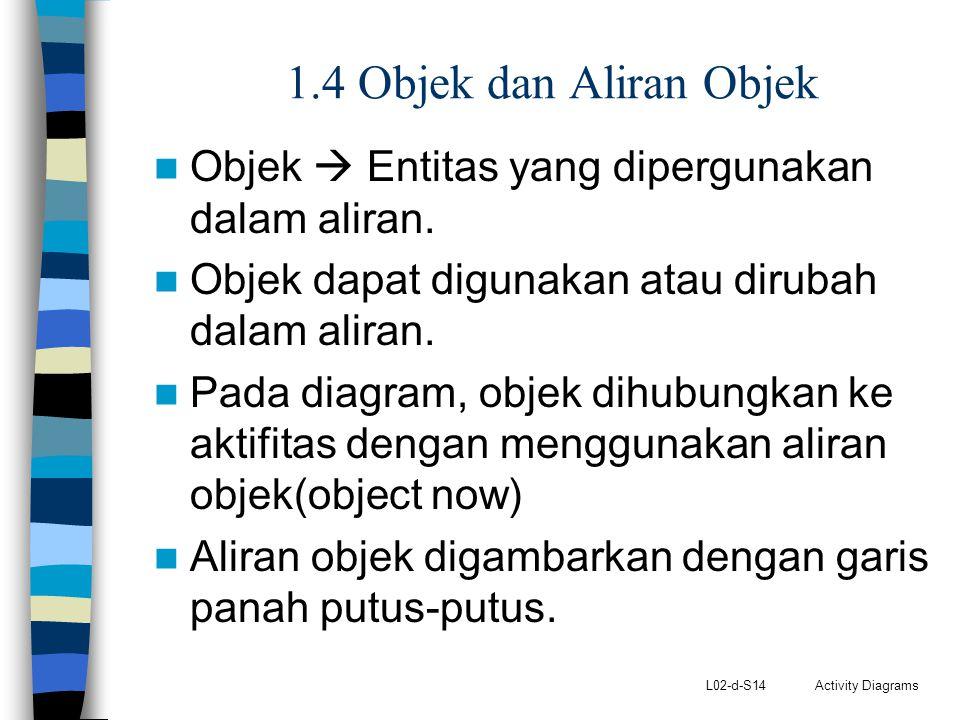 1.4 Objek dan Aliran Objek Objek  Entitas yang dipergunakan dalam aliran. Objek dapat digunakan atau dirubah dalam aliran.