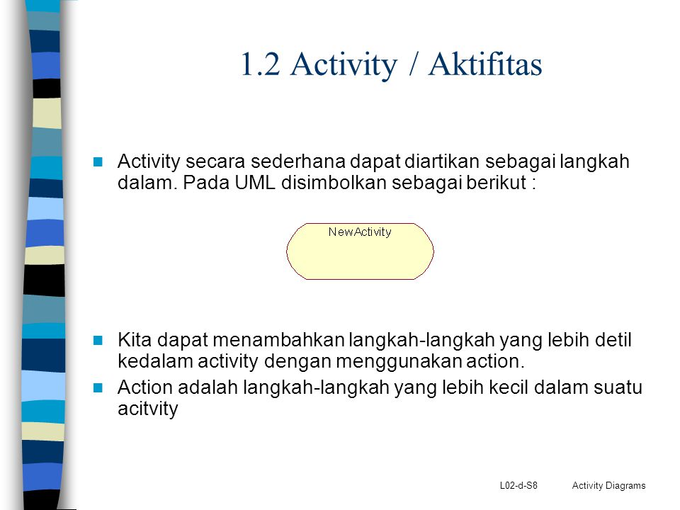 1.2 Activity / Aktifitas Activity secara sederhana dapat diartikan sebagai langkah dalam. Pada UML disimbolkan sebagai berikut :