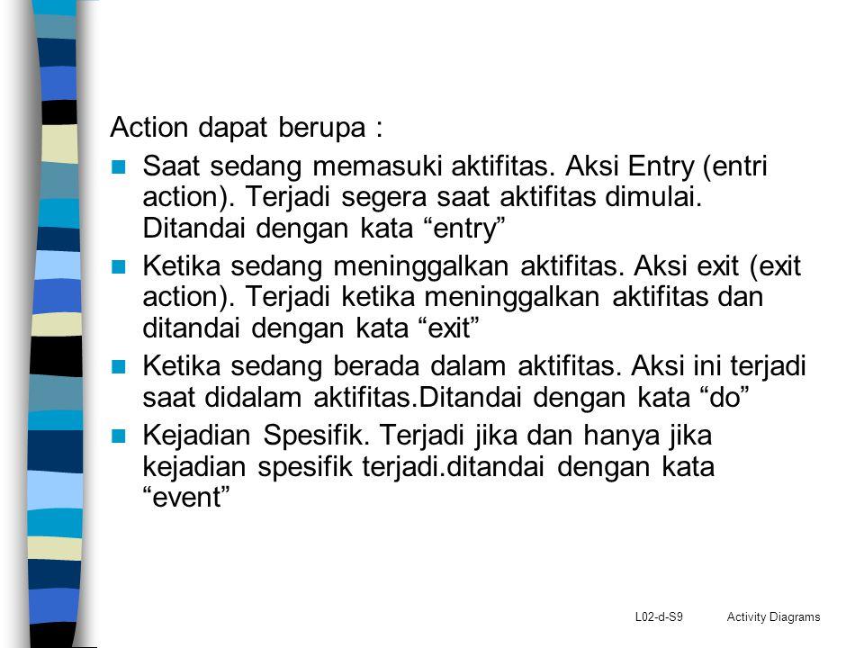 Action dapat berupa : Saat sedang memasuki aktifitas. Aksi Entry (entri action). Terjadi segera saat aktifitas dimulai. Ditandai dengan kata entry