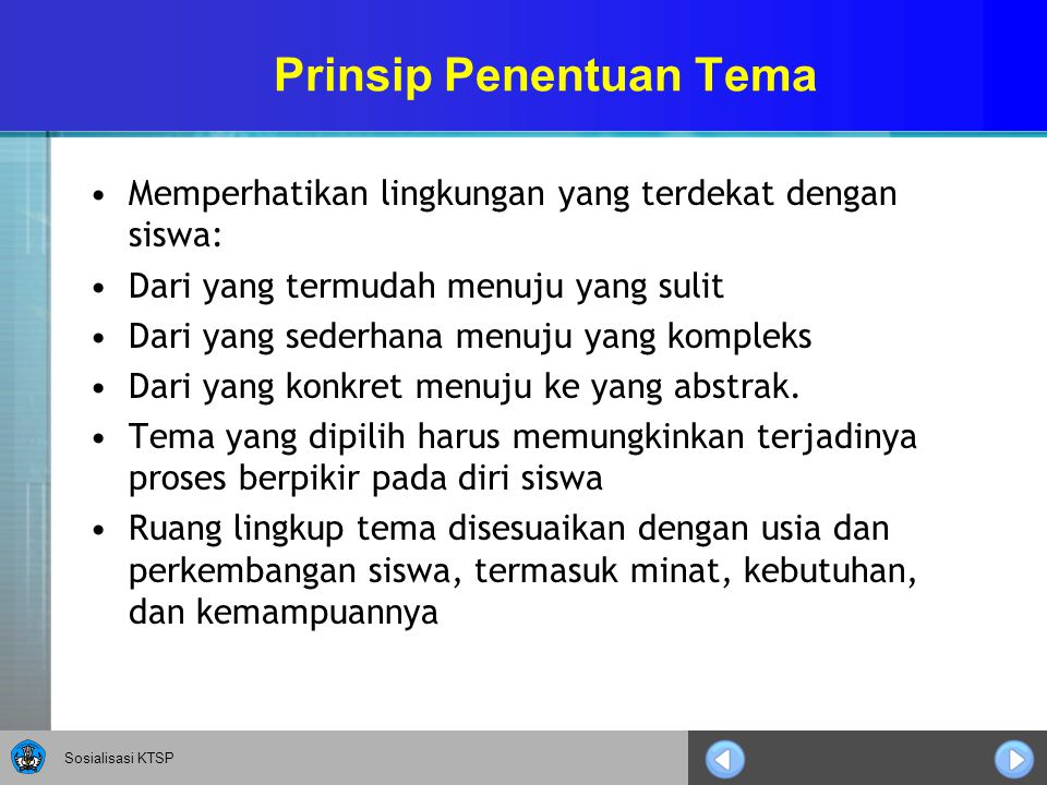 Prinsip Penentuan Tema