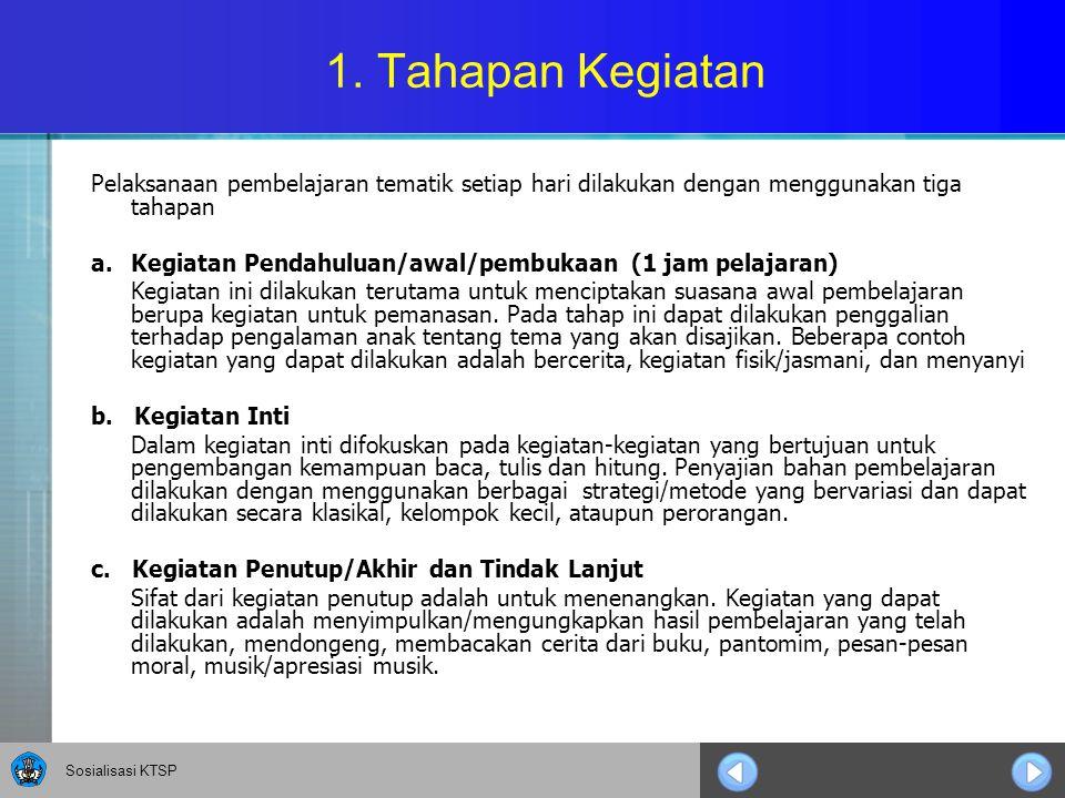 1. Tahapan Kegiatan Pelaksanaan pembelajaran tematik setiap hari dilakukan dengan menggunakan tiga tahapan.