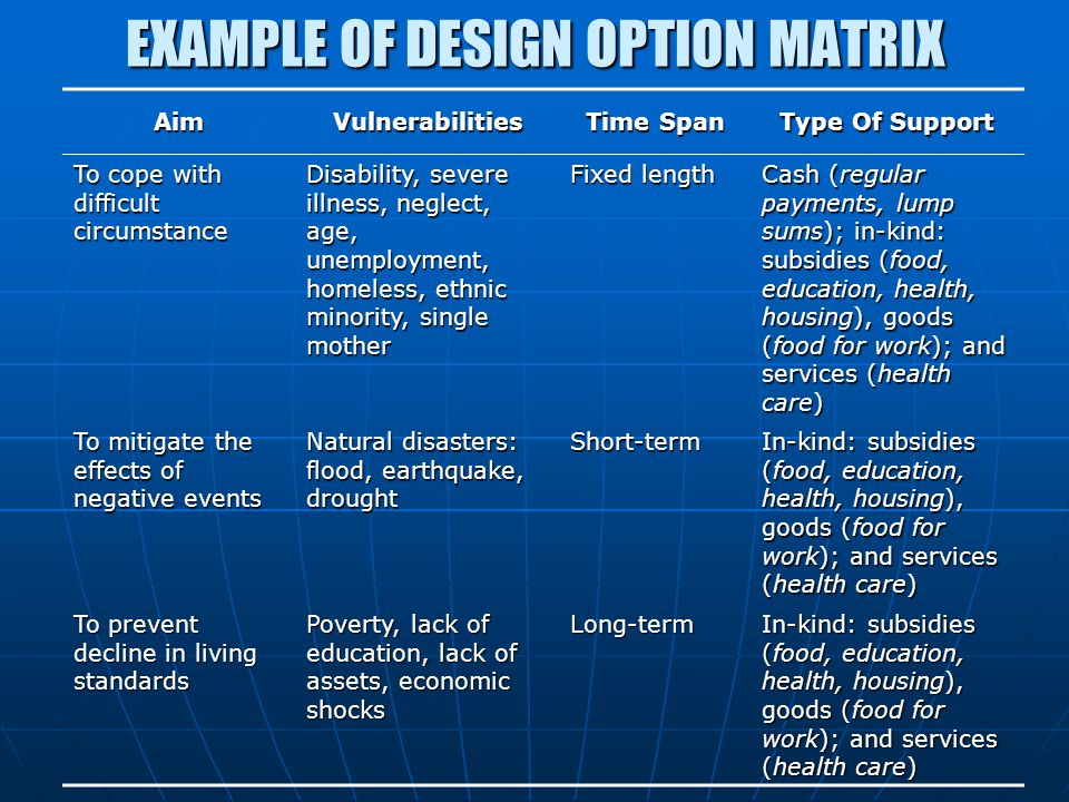 EXAMPLE OF DESIGN OPTION MATRIX
