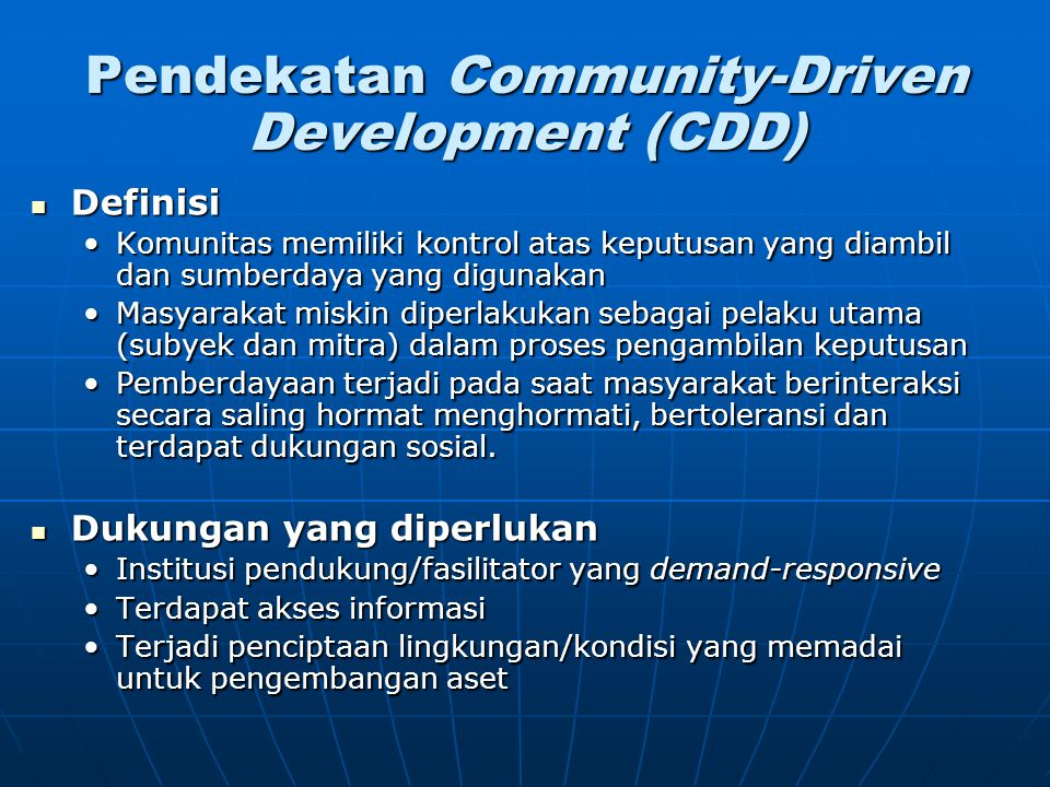 Pendekatan Community-Driven Development (CDD)