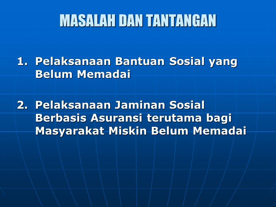 MASALAH DAN TANTANGAN 1. Pelaksanaan Bantuan Sosial yang Belum Memadai