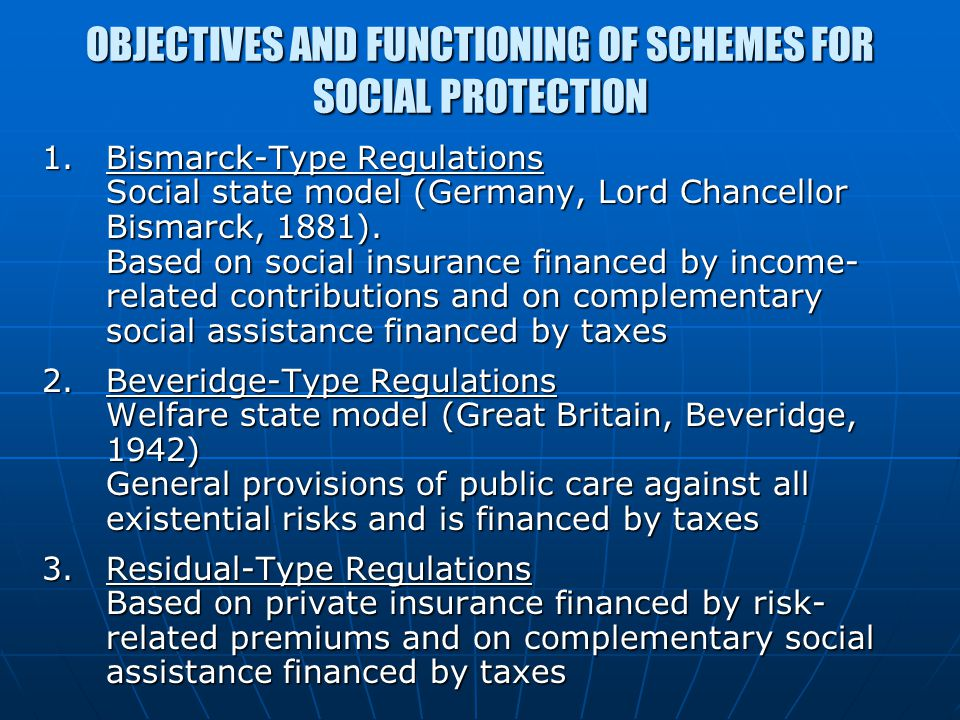 OBJECTIVES AND FUNCTIONING OF SCHEMES FOR SOCIAL PROTECTION