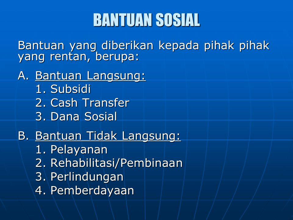 BANTUAN SOSIAL Bantuan yang diberikan kepada pihak pihak yang rentan, berupa: A. Bantuan Langsung: