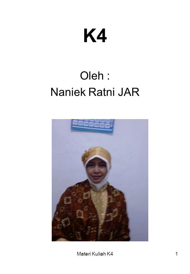 K4 Oleh : Naniek Ratni JAR Materi Kuliah K4