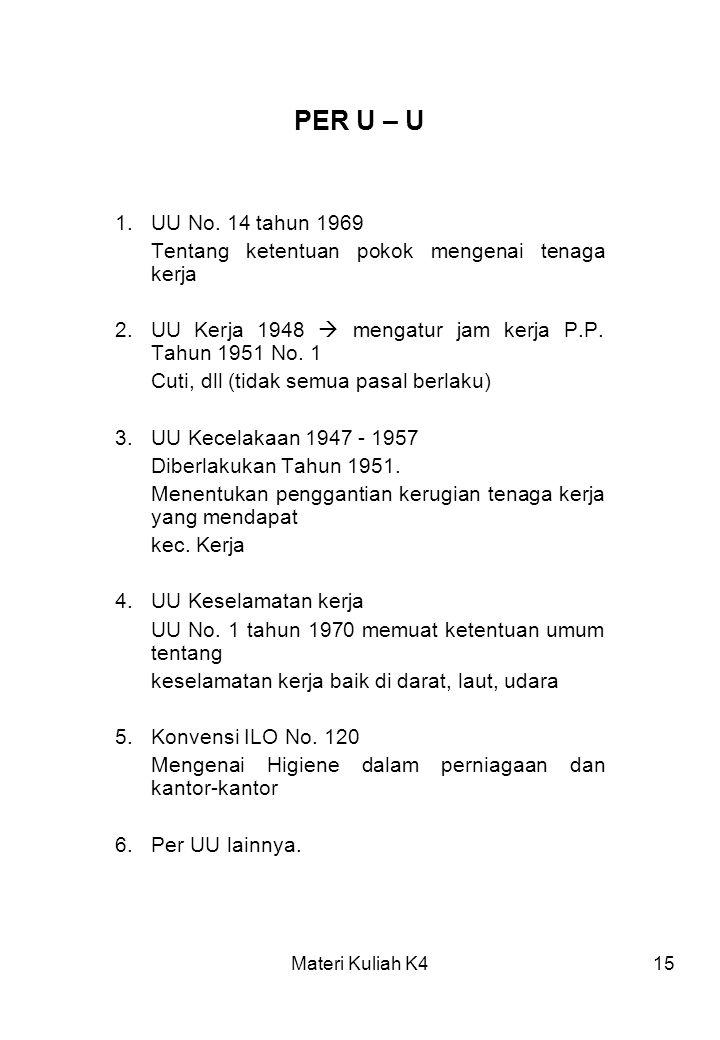 PER U – U 1. UU No. 14 tahun 1969. Tentang ketentuan pokok mengenai tenaga kerja. 2. UU Kerja 1948  mengatur jam kerja P.P. Tahun 1951 No. 1.