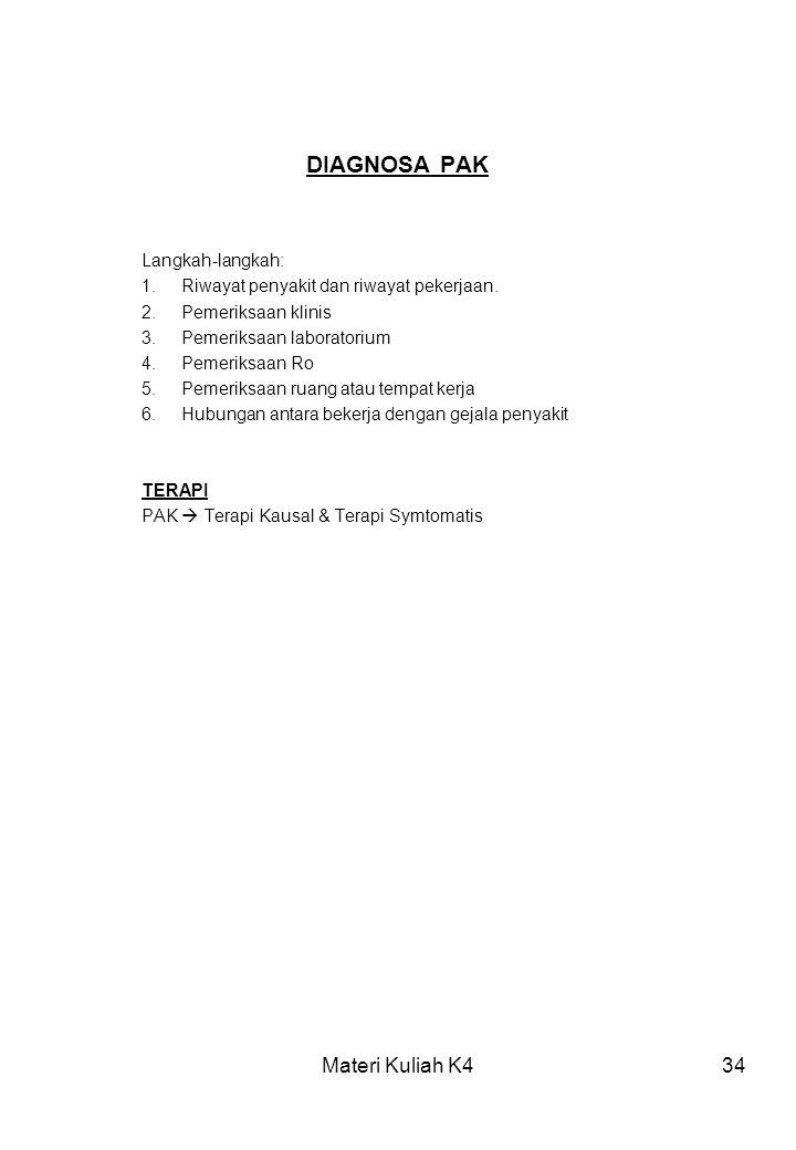 DIAGNOSA PAK Materi Kuliah K4 Langkah-langkah: