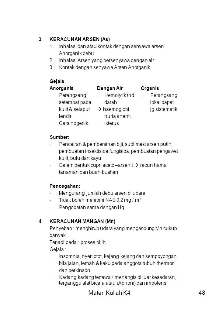 Materi Kuliah K4 3. KERACUNAN ARSEN (As)