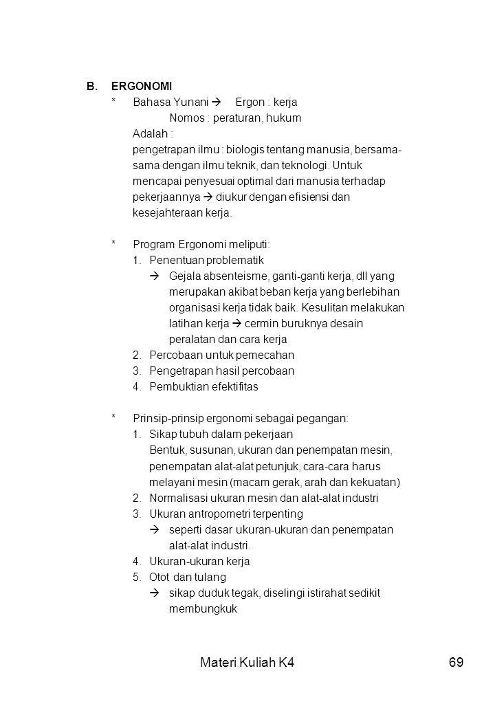 Materi Kuliah K4 B. ERGONOMI * Bahasa Yunani  Ergon : kerja