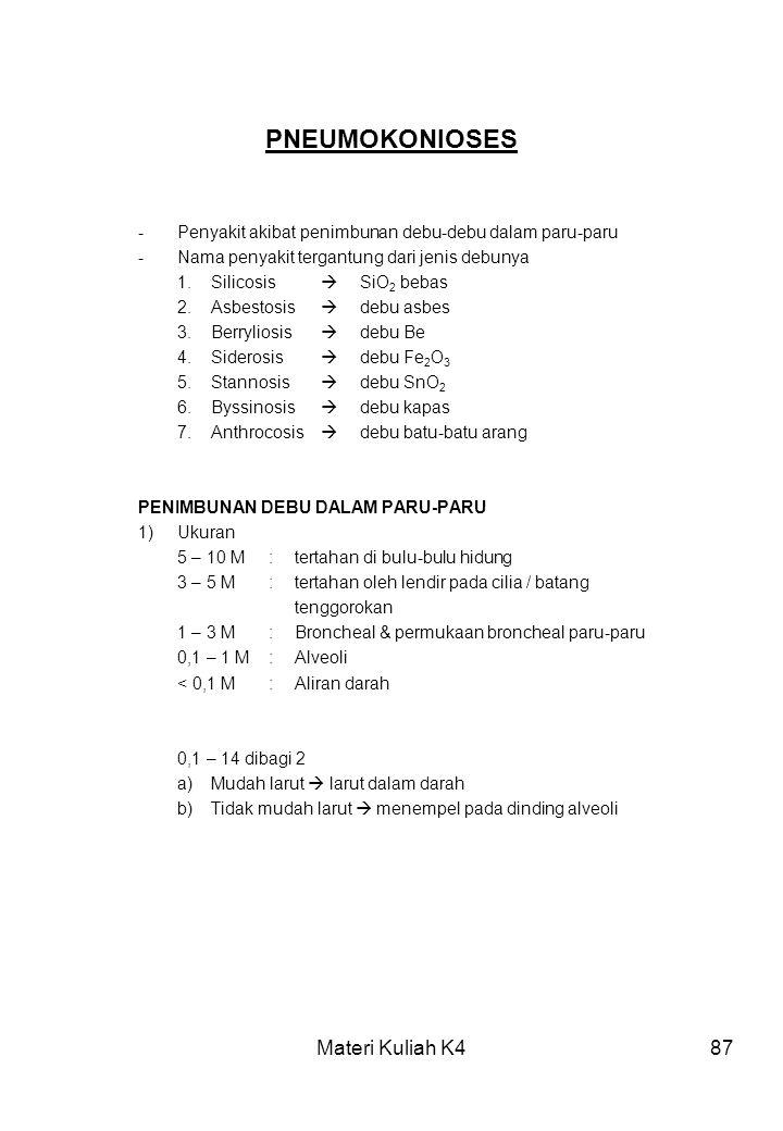PNEUMOKONIOSES Materi Kuliah K4