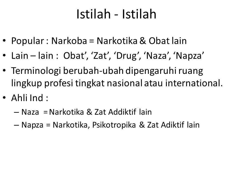 Istilah - Istilah Popular : Narkoba = Narkotika & Obat lain