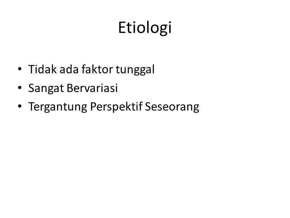 Etiologi Tidak ada faktor tunggal Sangat Bervariasi