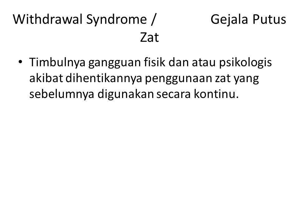 Withdrawal Syndrome / Gejala Putus Zat