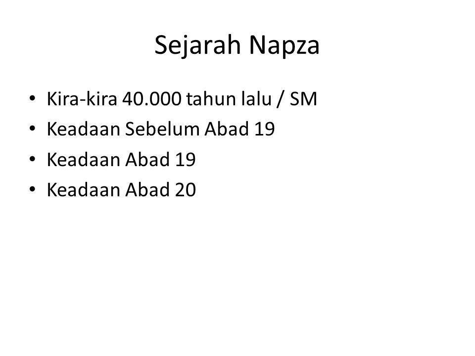 Sejarah Napza Kira-kira 40.000 tahun lalu / SM Keadaan Sebelum Abad 19