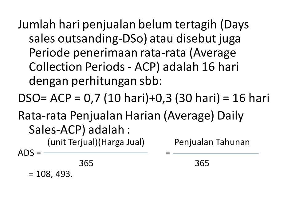 DSO= ACP = 0,7 (10 hari)+0,3 (30 hari) = 16 hari