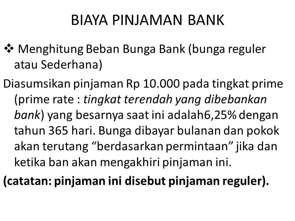 BIAYA PINJAMAN BANK Menghitung Beban Bunga Bank (bunga reguler atau Sederhana)