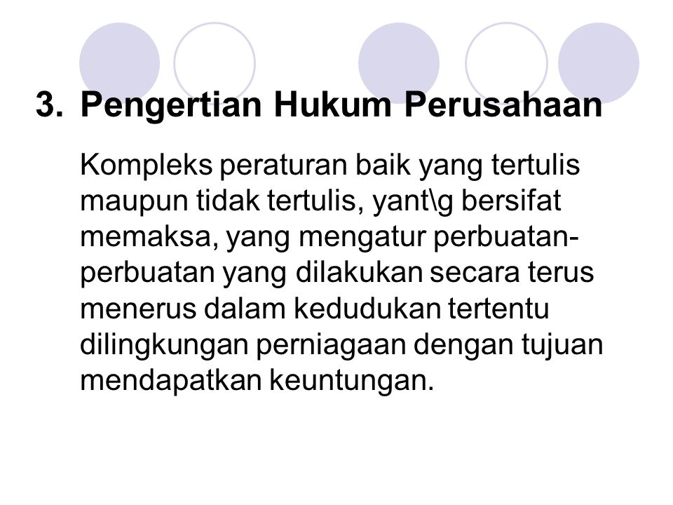 3. Pengertian Hukum Perusahaan