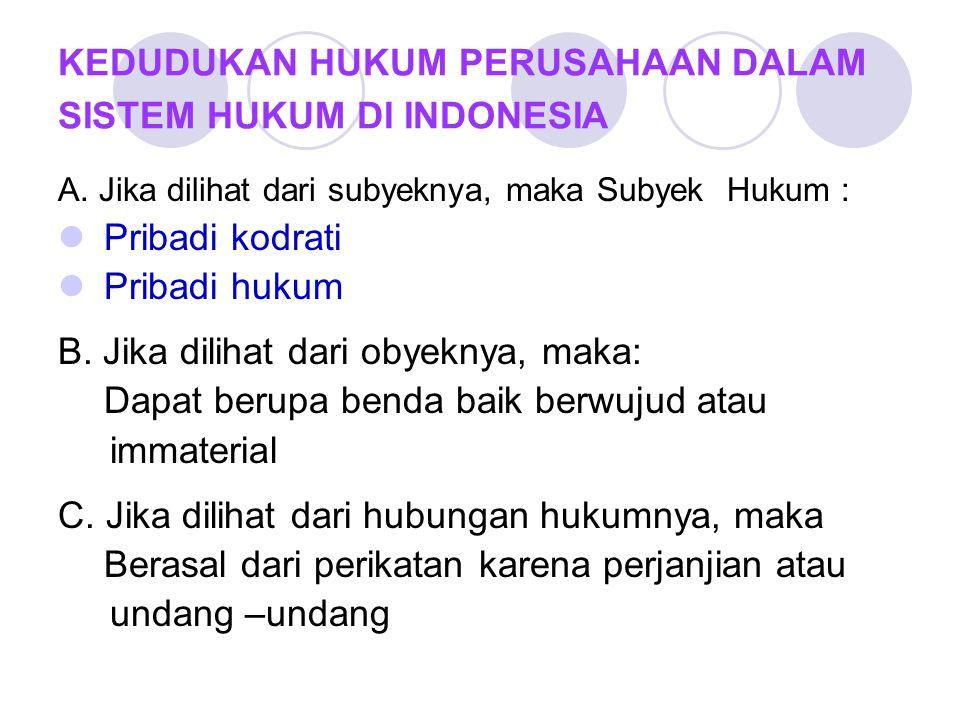 KEDUDUKAN HUKUM PERUSAHAAN DALAM SISTEM HUKUM DI INDONESIA