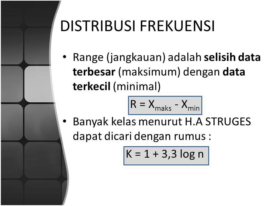 DISTRIBUSI FREKUENSI Range (jangkauan) adalah selisih data terbesar (maksimum) dengan data terkecil (minimal)
