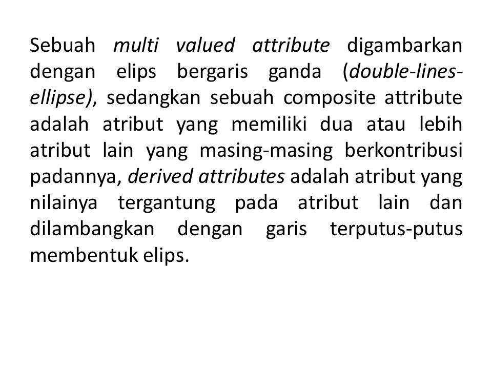 Sebuah multi valued attribute digambarkan dengan elips bergaris ganda (double-lines-ellipse), sedangkan sebuah composite attribute adalah atribut yang memiliki dua atau lebih atribut lain yang masing-masing berkontribusi padannya, derived attributes adalah atribut yang nilainya tergantung pada atribut lain dan dilambangkan dengan garis terputus-putus membentuk elips.