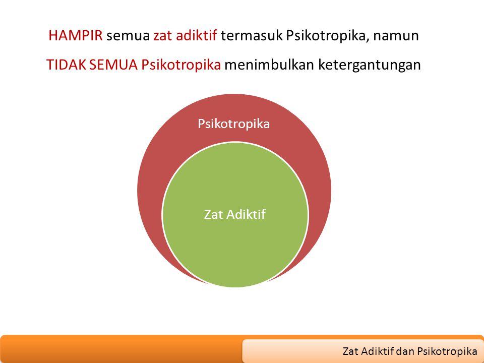 HAMPIR semua zat adiktif termasuk Psikotropika, namun TIDAK SEMUA Psikotropika menimbulkan ketergantungan